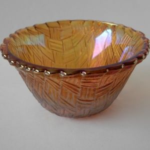 Other - Iridescent Amber Carnival Glass Bowl Basket Weave